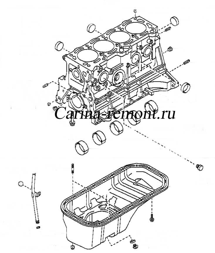 Блок цилиндров двигателя 4A-F, 5A-F, 4A-FE, 5A-FE и 7A-FE, 4A-GE